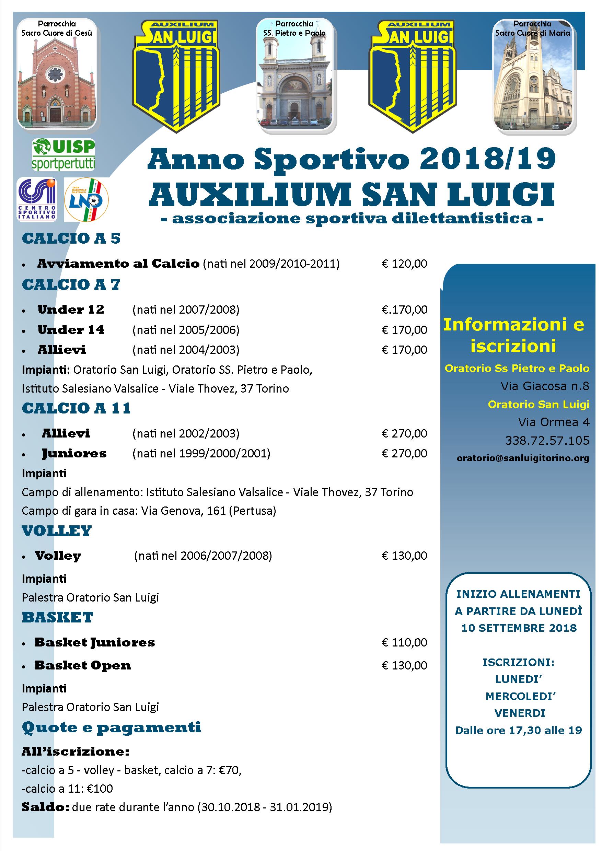 Auxilium Torino Calendario.A S D Auxilium San Luigi Stagione 2018 2019 Pgdonbosco